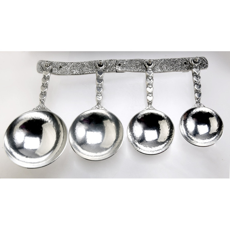 Hearts Pewter Measuring Cups on Pewter Strip
