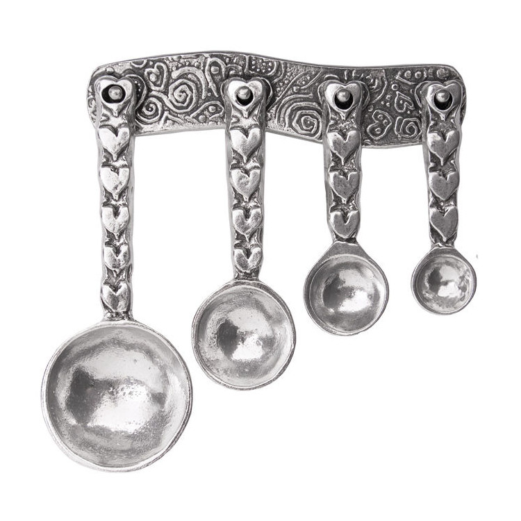Hearts Pewter Measuring Spoons on Pewter Strip