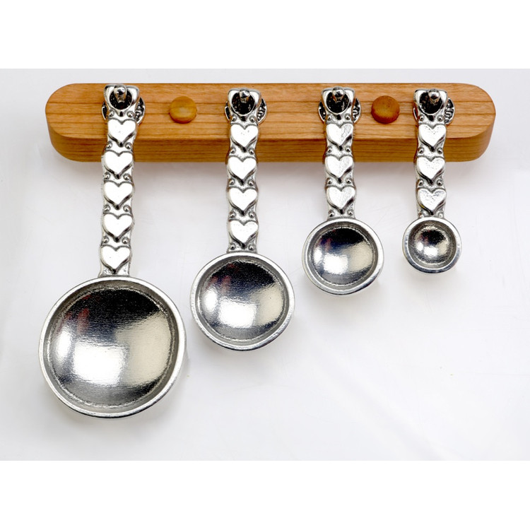 Hearts Pewter Measuring Spoons on Cherry Srip