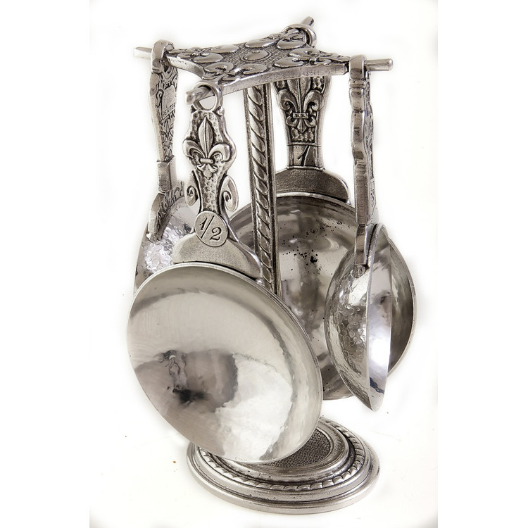 Fleur de Lys Pewter Measuring Cups on Pewter Post