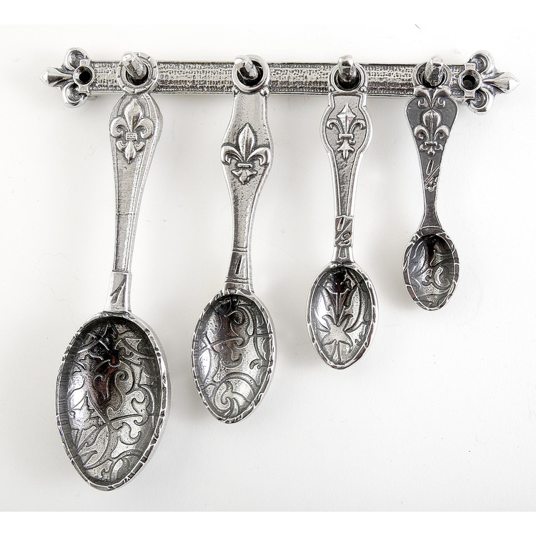 Fleur de Lys Pewter Measuring Spoons on Pewter Strip