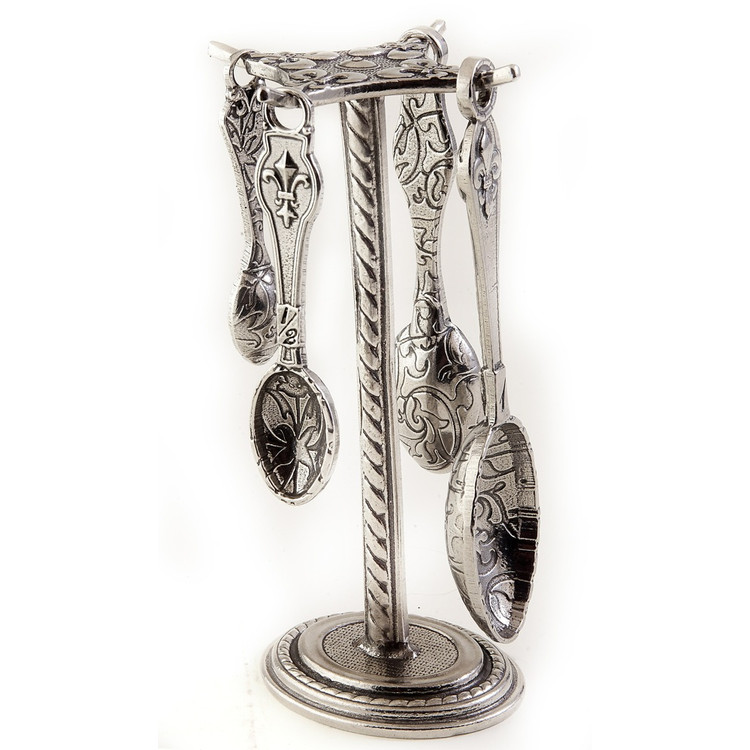 Fleur de Lys Pewter Measuring Spoons on Pewter Post