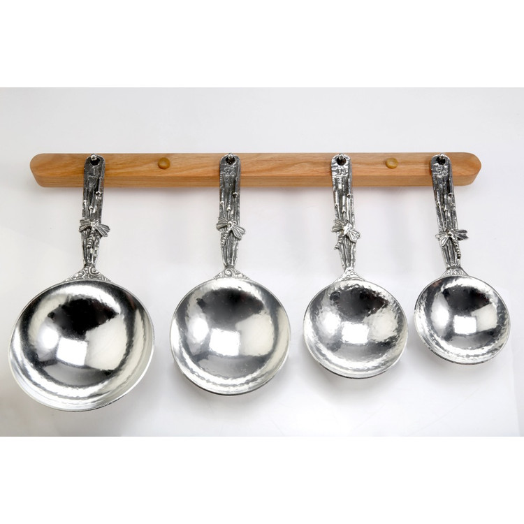 Dragonfly Pewter Measuring Cups on Cherry Strip