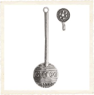 Coffee Theme Pewter Coffee Scoop with Hook