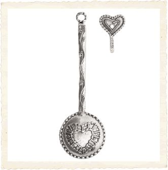 Hearts Theme Pewter Coffee Scoop with Hook
