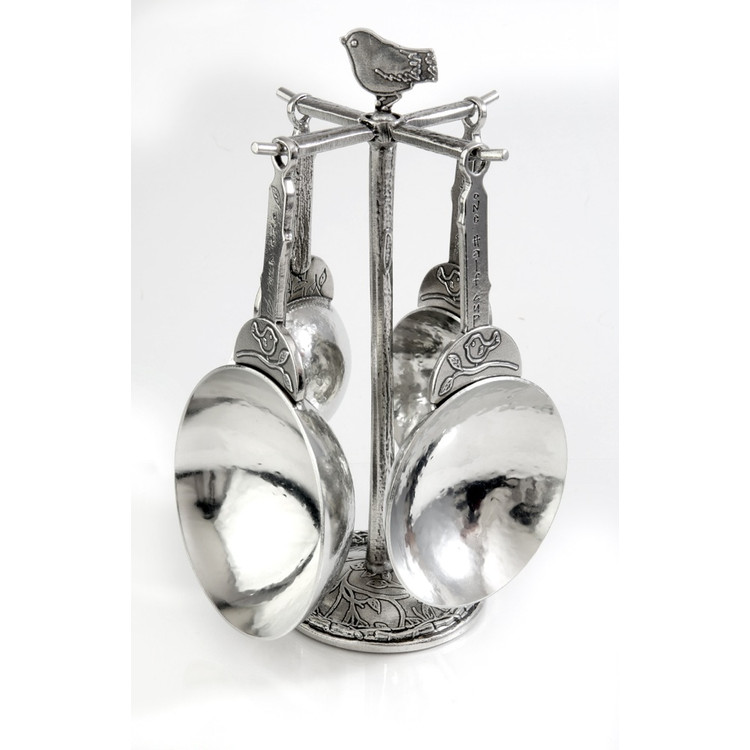 Bird Pewter Measuring Cups with Pewter Post