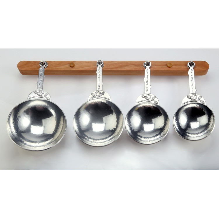 Bird Pewter Measuring Cups on Cherry Strip