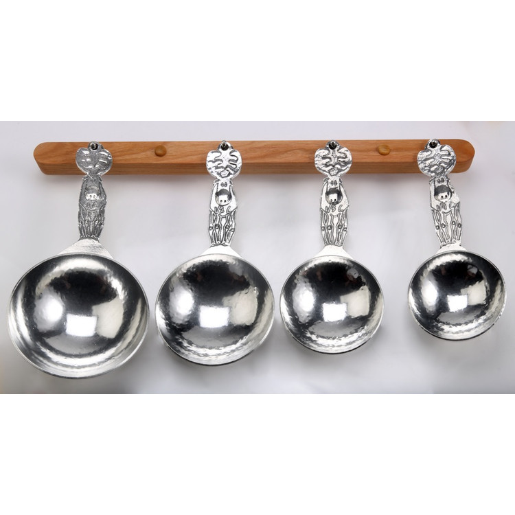 Moose Pewter Measuring Cups on Cherry Strip