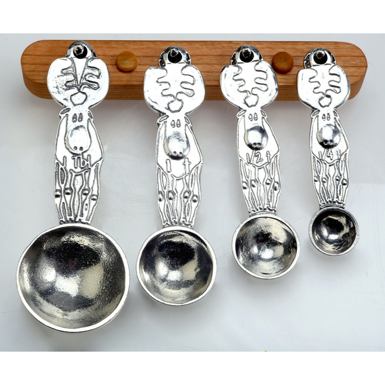 Moose Pewter Measuring Spoons on Cherry Strip